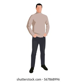 Man in light brown sweater and jeans standing with hands in pockets. Flat vector illustration, abstract silhouette