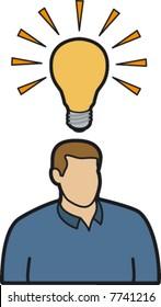 Man with lightbulb over head