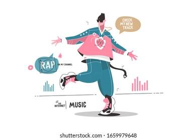 Man listening music via internet app vector illustration. Guy blogger dancing and enjoying new songs. Speech bubbles rap on my channel, check my new track flat style design. Modern technology