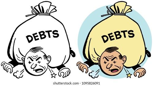 A man is literally crushed by his debts.