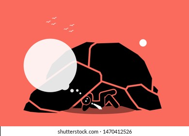 Man living under a rock or cave. Vector artwork depicts a businessman staying and living under a rock while thinking. Concept of ignorant, isolation, idiot, oblivious, unaware, and foolish.