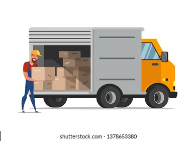 Man loading boxes in van flat illustration. Courier, delivery guy carrying cardboard container. Packages, parcels in truck. Warehouse worker cartoon character. Distribution, shipment isolated clipart