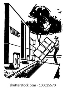 1950 truck images stock photos vectors shutterstock 1950 Mack Gas Truck man loading moving van retro clip art illustration