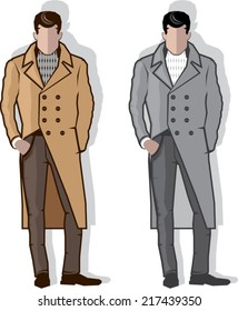 Man in long coat vector