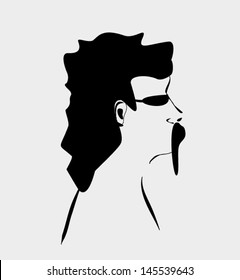 man with long mustache and bushy hair