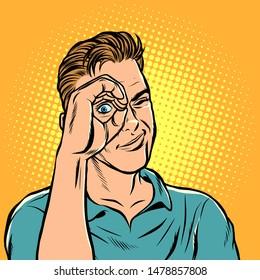 man look telescope hand. Pop art retro vector illustration drawing