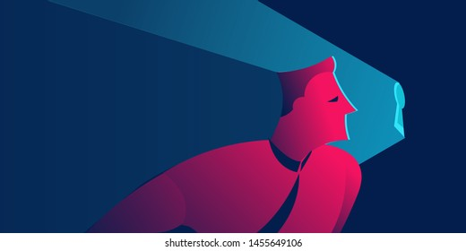 man looking into keyhole. non disclosure agreement, spying or information security concept in red and blue neon gradients