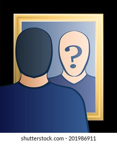 "A man is looking into the mirror asking himself ""Who am I?"". In his face there is a big question mark to bring ones consciousness into question. Vector illustration."
