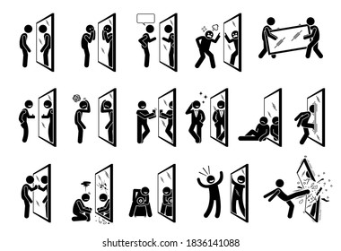 Man looking into a mirror stick figure pictogram icons. Vector artworks depict the concept of self reflection.