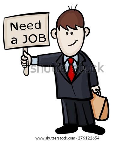 Man Looking Job Vector Illustration Stock Vector Royalty Free