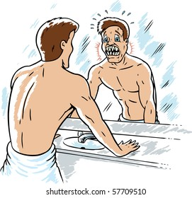 Man looking in mirror and needs braces. Head is on a separate layer, and can be easily moved.