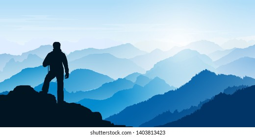 Man looking at the mountains. Mountain  landscape. Morning in the mountains. Tourism, sport and travelling. Vector  design