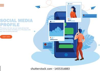 man looking at social media profile concept vector illustration