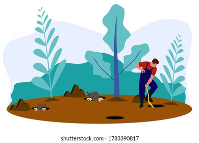 A man looking for some mole that digging a hole in the ground with a shovel