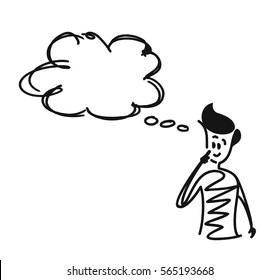 Man looking at the thought bubble, Cartoon Hand Drawn Vector Background.