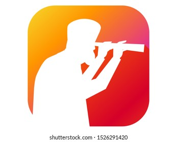 Man looking through a telescope flat icon with long shadow. Gradient background. Vector illustration