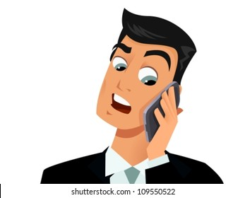 Man looking upset while answering the phone