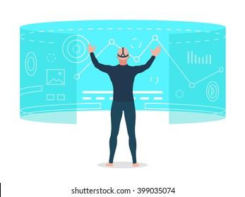 Man looking at virtual reality interface