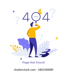 Man looking at website message through magnifying glass and question marks. Concept of error 404, page not found, online service notification. Modern flat colorful vector illustration for banner.