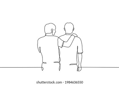 man looks at a friend with his hand on his shoulders - one line drawing. the concept of friendship, emotional support, comfort someone,