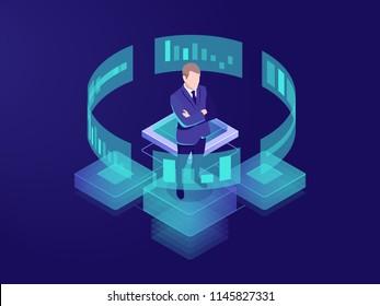 Man looks graphic chart, business analytics concept, big data processing icon, virtual reality interface, server room admin administrator, isometric illustration vector neon dark