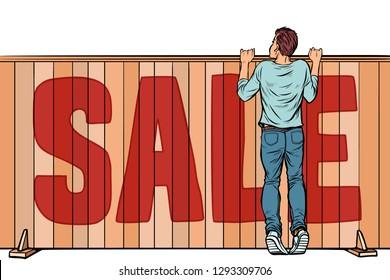 a man looks over the fence. sale house real estate. Pop art retro vector illustration vintage kitsch