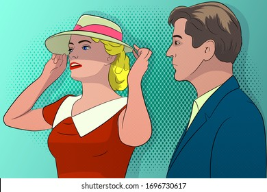 A man looks at a young woman who straightens her hat. Vector image, in pop art retro style.