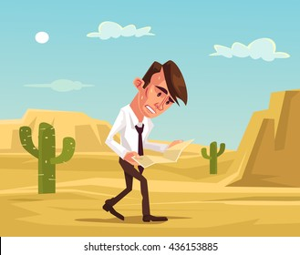 Man lost. Businessman lost in desert. Man trying survive. Lost man hold map. Vector flat cartoon illustration