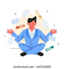 Man in lotus pose. Employee meditate against stress. Deadline and stress management concept. Idea of many work and few time. Flat vector illustration