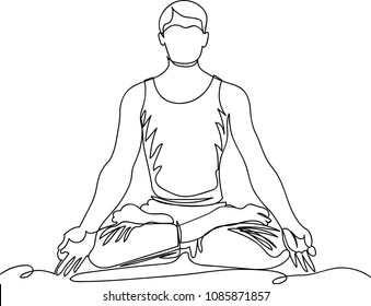 man in Lotus position. line drawing