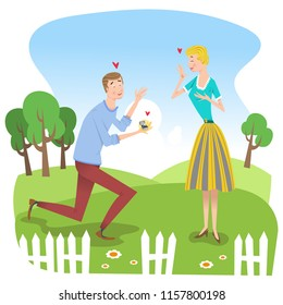 Man in love giving engagement ring to fiancée in a garden in summertime (vector illustration)