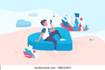 Man in love sending phone message. Horizontal Saint Valentine, Women's Day or landing page background with hearts. Person sitting and waiting for rendezvous