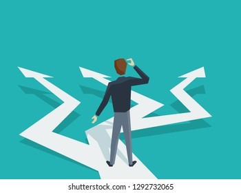 Man in low poly style at crossroads before important choice (correct decision choosing) - vector illustration for business concept or political voting
