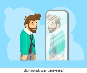 Man Low Self-Esteem vector illustration