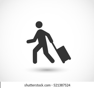 Man with a luggage icon vector