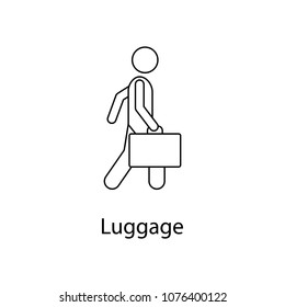 man with luggage illustration. Element of a person carries for mobile concept and web apps. Thin line man with luggage illustration can be used for web and mobile. Premium icon on white background