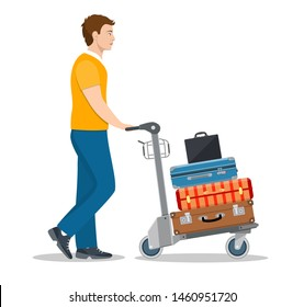 man with luggage trolley in airport. Travel concept. Vector illustration in flat style