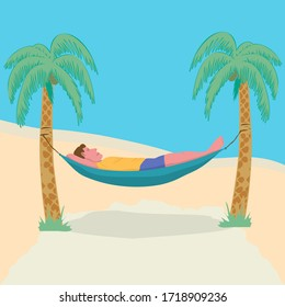 Man lying in a hammock attached to palm trees. Lazy vacation, downshifting, freelance. Freedom in tropical resort.