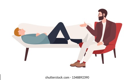 Man lying on coach and male psychologist, psychoanalyst or psychotherapist sitting beside and providing psychological aid. Professional psychotherapeutic session. Flat cartoon vector illustration.