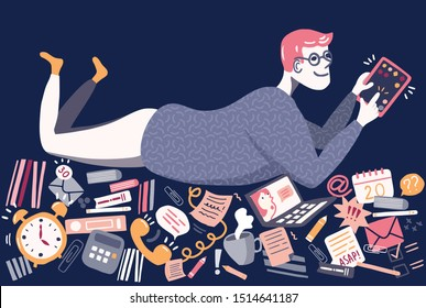 Man lying on a pile of task: emails, todo's, books, messages, playing games on tablet. Procrastinating man, procrastination of office worker. Vector illustration in flat cartoon style.