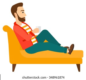 A man lying on sofa and holding a cup of hot flavored tea vector flat design illustration isolated on white background. Horizontal layout.
