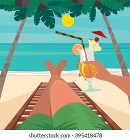 Man lying on a sun lounger by the sea and holding in his hand an exotic cocktail - Beach holidays concept. Vector illustration