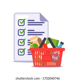 man made a grocery list for the store. recipe. flat vector illustration.
