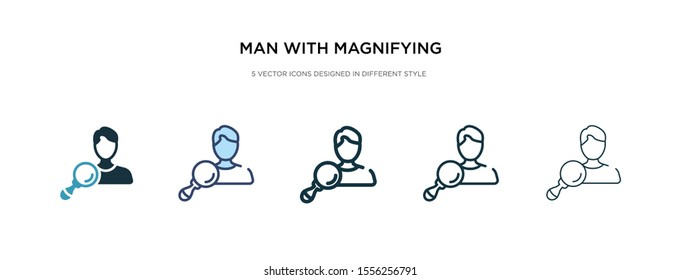 man with magnifying flass icon in different style vector illustration. two colored and black man with magnifying flass vector icons designed in filled, outline, line and stroke style can be used for