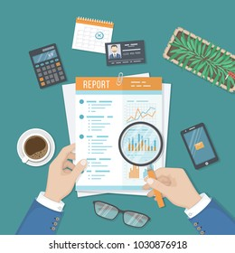 Man with magnifying glass analyzes report, paper document with graphs and diagrams. Research, planning, analysis.  Desk, calculator, business card, phone, glasses, calendar. View from above Vector