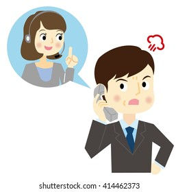 Man make a phone call of complaint to the call center