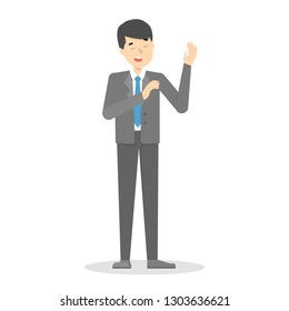 Man make promise to speak the truth. Businessman in suit with raised arm. Honesty concept. Vector illustration in cartoon style