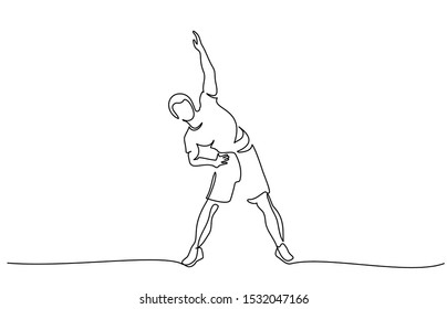 Man make stretching exercise at fitness. Continuous one line drawing. Vector illustration