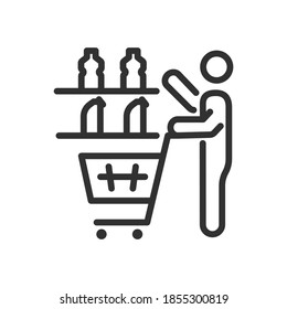Man makes purchases in the store, choosing goods from the shelf to put from in the cart, linear icon. Editable stroke