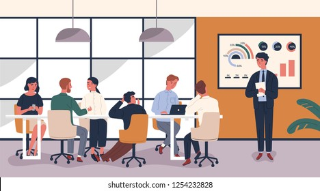 Man making boring and tedious presentation in front of people sitting at table. Lecturer giving dull lecture to audience demonstrating lack of interest. Vector illustration in modern flat style.
